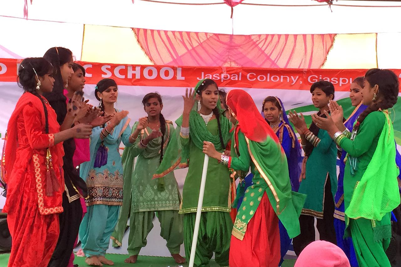 Students performing Bharatnatyam Dance at SSD Public School